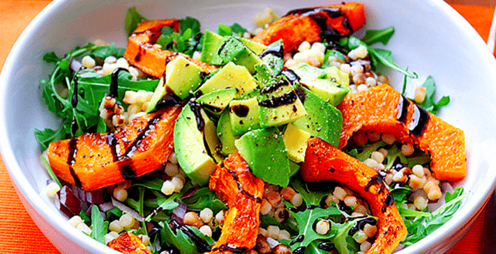 Squash Salad with Avocado and Spinach Leaves